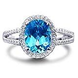 Damen natürlich Swiss Blau Topas Edelstein Ovalschliff 14K (585) Weißgold Diamant Versprechen Hochzeit Band Ring