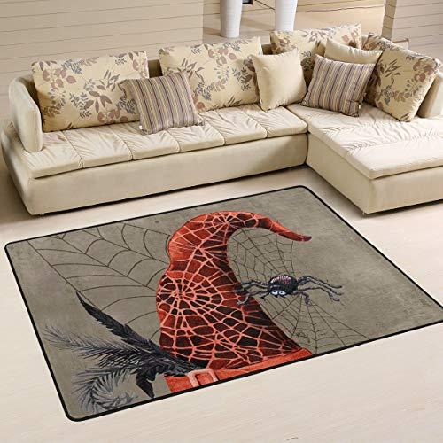 XiangHeFu Personalisierte Teppiche Happy Halloween Spinnennetz Hexenhut 3