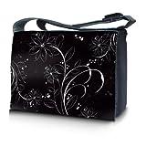 Luxburg design sac en bandoulière sacoche sac collège daily bag 15,6 pouces, motif: Fleurs blanches sur noir