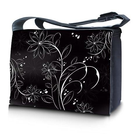 Luxburg® design sac en bandoulière sacoche sac collège daily bag 17,3 pouces, motif: Fleurs blanches sur