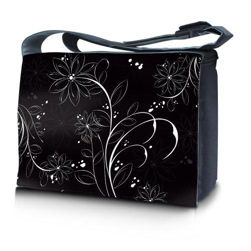 Luxburg® design sac en bandoulière sacoche sac collège daily bag 17,3 pouces, motif: Fleurs blanches sur noir