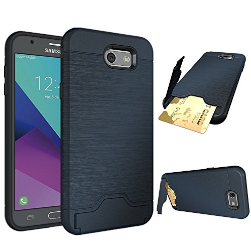 Galaxy J7 V Fall, Galaxy J7 Sky Pro Fall, nokea Karte Dual Layer Advanced Shock Absorption Schutzhülle mit Kartenhalter und Ständer Wallet Case für Samsung Galaxy J7 2017, Blau