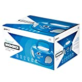 Groov-e Portable CD Player Boombox with AM/FM Radio, 3.5mm AUX Input, Headphone Jack, LED Display - Blue