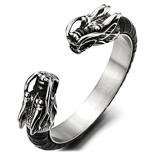 COOLSTEELANDBEYOND Elastische Verstellbare Herren Edelstahl Drachen Armband Armreif Intarsien mit Schwarze Leder