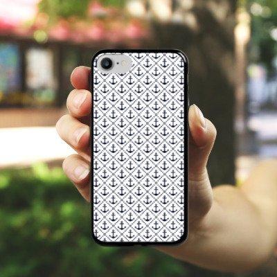 Apple iPhone X Silikon Hülle Case Schutzhülle Anker Anchor Muster Hard Case schwarz