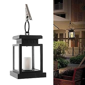 Gladle- Lampada a Energia Solare a Sospensione, LED da Esterno, Candela Lanterna, Giardino Yard Parete Panorama Ombrellone Albero,conl sensore automatico attiva Crepuscolare