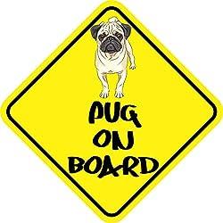 Vinilo de Pug on board para vehículo
