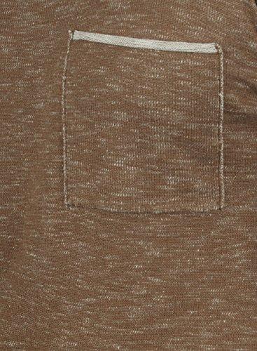 REDEFINED REBEL Maverick Herren Strickpullover Feinstrick Pulli mit Rundhals-Ausschnitt und Brusttasche aus 100% Baumwolle Meliert Teak Brown