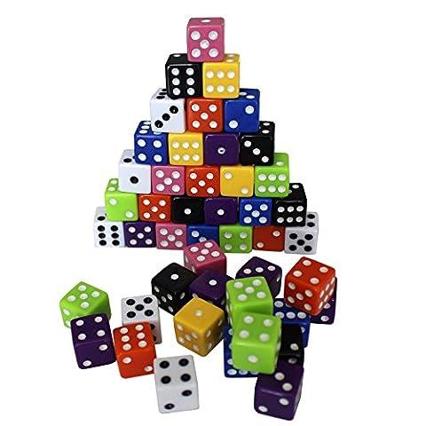80-tlg. Würfel-Set mit 8 verschiedenen Farben von Kurtzy - 80 x 6-seitige Würfel in gratis Samttasche, 10 Würfel pro Farbe, ideal für Brettspiele, Matheunterricht & -Spiele, Backgammon, Casinopartys