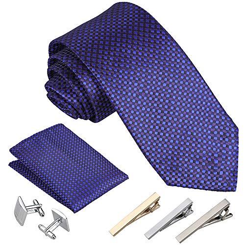 Rovtop Cravatta Uomo 4 Stili con 1 Fazzoletto 2 Gemelli 3 Fermacravatta Regalo per Il Fidanzato Scelta Migliore per Il Regalo del papš€