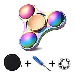 Idea Regalo - Starcrafter Fidget Spinner Materiale in Lega di Zinco Fidget Giocattolo Spinner Ultra Durable 5 Min Spins Finger Spinner Alleviare lo Stress, l'Ansia, e la Noia per Bambini e Adulti - Multicolore