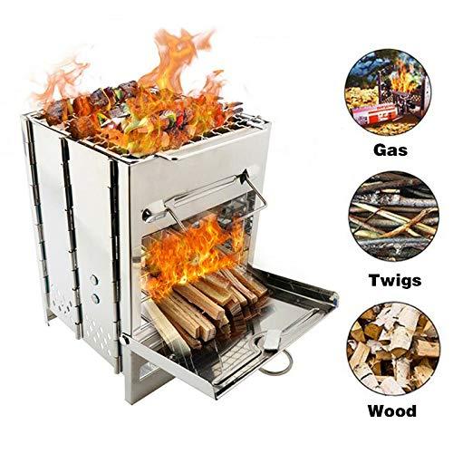 NuaDua Tragbare Feuerstelle und Campingkocher - Faltbarer Edelstahl Holzbrenner Feuerstelle für Outdoor/BBQ