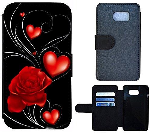 Schutz Hülle Flip Cover Handy Tasche Etui Case für (Apple iPhone 5 / 5s, 1232 Herz Abstract Lila) 1236 Herz Rose Schwarz Rot
