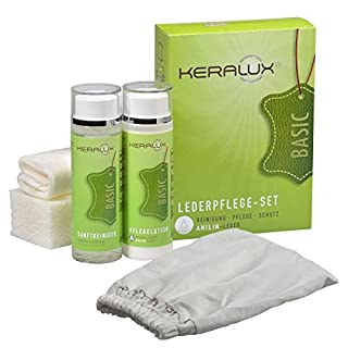 KERALUX Lederpflege Set A Reinigung und Pflege für Anilinleder 2 x 200 ml Inhalt Aktion! Jetzt mit Reinigungs Handschuh Staubfix für die Schnelle Reinigung zwischendurch. Von LCK Keragil