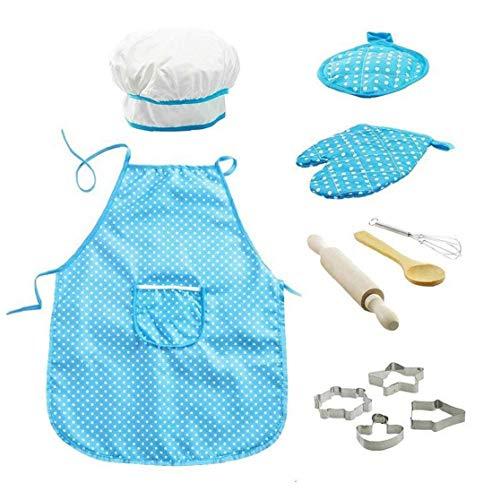 11pcs / Pack Chef-Set Für Kinder Küchenrollen Koch-Kostüm Mit Schürze Chef-Hut Utensilien Spielen Mitt Kochen