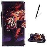 KaseHom Housse case for Samsung Galaxy J330/J3 2017 Étui en cuir Coque [Gratuit Stylus Pen] Unique Premium PU Porte-monnaie avec carte de crédit Flip magnétique Antichoc-tigre