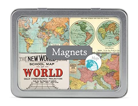 Cavallini & Co. Vintage Maps Designed Magnets in a Tin - Assorted (Pack of 24)