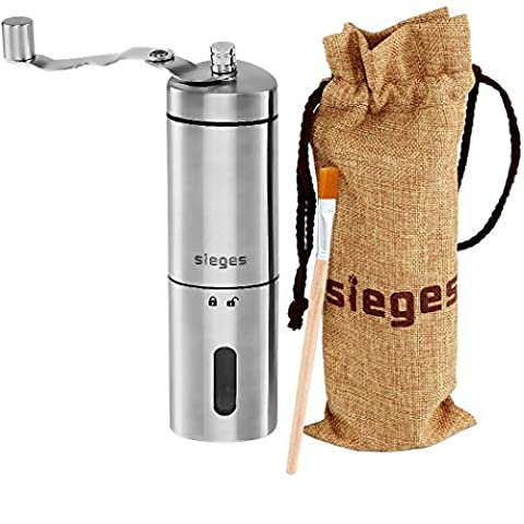 Portable Coffee Grinder SIEGES Upgrade Stainless Steel Manual Coffee Grinder Ceramic Burr Grinding , Triangular , Easy Lock/Open with Carry Bag and Clean