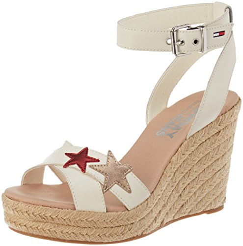 Hilfiger Denim Damen Wedge Sandal Glitter Badge Espadrilles, Weiß (Whisper White 121), 42 EU