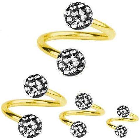 Giro de la espiral de perforación de titanio bañado en oro de 1, 2, diseño de bola de cristal diamante