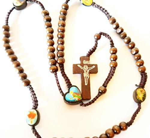 Gerusalemme Cuore in legno rosario madonna Verde Beata Vergine Maria Rosario Crocifisso in legno marrone scuro Guadalupe Vergine Maria Madonna