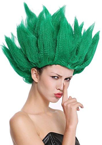 WIG ME UP - 91062-PC18 Perücke Damen Herren Karneval Halloween Cosplay Blume Tulpe Dämon Waldfee Elfe grün hochtoupiert