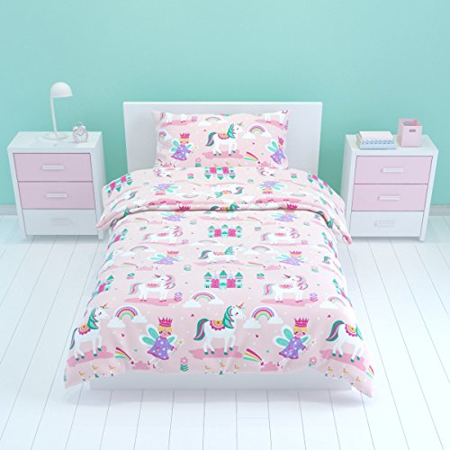 Bloomsbury Mill - Magic Unicorn, Fairy Princess & Enchanted Castle - Kids Bedding Set - Pink - Junior / Toddler / Cot Bed Duvet Cover and Pillowcase