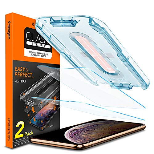 "Spigen, 2 Pièces, Verre Trempé iPhone 11 Pro Max/XS Max(6.5""), EZ FIT, Kit d'installation, Respectueux de la Casse, Compatible Face ID, Protection ecran iPhone 11 Pro Max/XS Max"