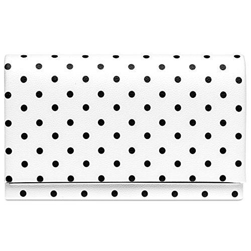 CASPAR TA425 ausgefallene Damen 50er Retro Envelope Clutch Tasche, Farbe:weiß/schwarze PUNKTE;Größe:One Size