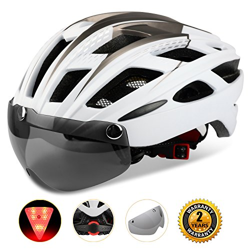Kinglead Fahrradhelm mit Schild Visier, Unisex Geschützter Fahrradhelm für Fahrradfahren Racing Skateboarding Outdoors Sports Safety Superleichter verstellbarer...