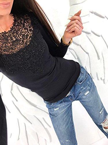AmazingDays Maglia a Manica Lunga - Monospalla - Donna Nero