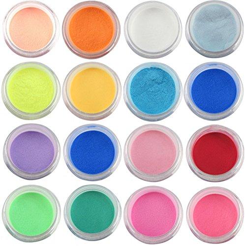 16 pièces de poudre de poussière de paillettes pour la décoration des ongles-FashionLife Nail Sticker Tatto - FashionLife