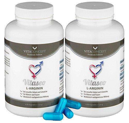 SPAR-PACK 2 x VITASEO (180 Kaps.) - 1200 mg L-Arginin pro Kapsel - Potenz * Kraft * Ausdauer * Liebe Lust und Leidenschaft - für Männer und Frauen - Monatspackung - 100% gewonnen aus L-Argininhydrochlorid VITACONCEPT - 90 Kapseln - Made in Germany