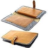 XiRRiX Handytasche Wallet Leder / Wollfilz Geldbörse -
