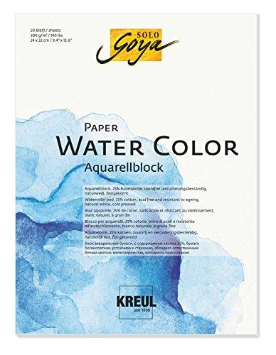 Solo Goya 68012 Paper Water Color, Aquarellblock, 20 Blatt, ca. 24 x 32 cm