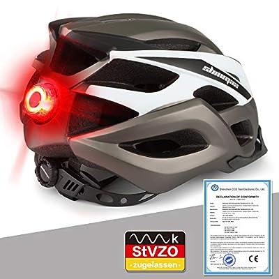 Shinmax Bike Helmet, MTB Helmet with Detachable Visor, With LED Warning Light Mountain Helmet Helmet, Cycling Helmet Men & Women Riding Helmet for Adult CE, Stvzo Certificate from Shinmax