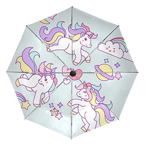 MALPLENA - Paraguas automático de Unicornio arcoíris portátil, Apto para Hombres y Mujeres, opción de Regalo, Unisex Adulto, MN-331, 2, Talla única