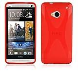 Cadorabo Hülle für HTC One M7 (1.Gen.) Hülle in INFERNO Rot Handyhülle aus flexiblem TPU Silikon im X-Line Design Silikonhülle Schutzhülle Soft Back Cover Case Bumper Inferno-Rot