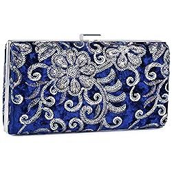 UBORSE Bolso de Fiesta Noche Moda para Mujer Embrague Hard Shell Clutches Elegante Bolso de Hombro Billetera Carteras de Mano del Banquete Boda Señoras,Azul