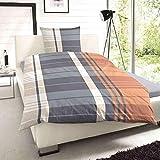 Unbekannt Feinbiber Bettwäsche Streifen Grau Orange 155x220 cm + 80x80 cm
