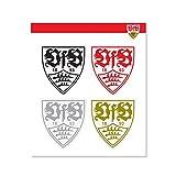 VFB Stuttgart Wappen Logo Sticker Aufkleber 4er Set transparent ca 9 x 9 cm