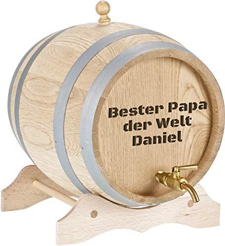 Personalisiertes Holzfass mit Gravur 2 Liter Whiskyfass mit Gravur und Zapfhahn aus Messing | Massives Eichenfass Schnapsfass mit Gravur als Geschenk zum Geburtstag | Geschenk Vatertag (Motiv 1)