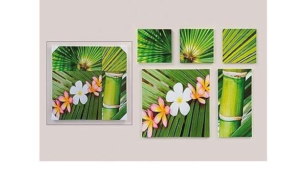 2 er Set Wandbilder Bambus Steingarten Orchidee Bilder je 40 x 40 cm Feng Shui