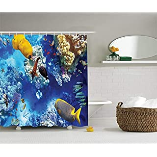 JAKE SAWYERS Ocean Decor Collection, Wild Underwater Sea Animal Aquaworld with Corals Tropical Fishes and Stingray Egyptian Sea Picture, Polyester Fabric Bathroom Shower Curtain, 84 Inches Extra Long