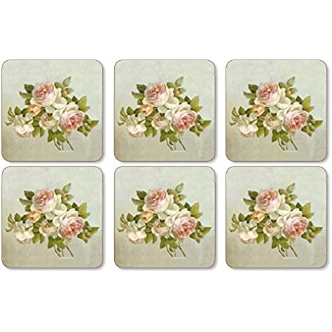 Pimpernel Antique Roses Coasters - Set of 6 by Pimpernel