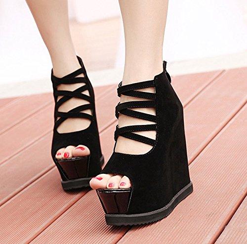 GTVERNH-la primavera e l'estate di nero 8.5cm scarpe sexy cross con pendenza tacchi spessa impermeabile in bocca di pesce locale sandali.,37 Thirty-seven