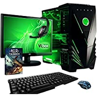 "Vibox Sniper Package 10XLW Gaming PC - with Warthunder Game Bundle, Windows 10, 21.5"" HD Monitor, Gamer Headset, Keyboard & Mouse Set (4GHz Intel i7 Quad Core Processor, Nvidia Geforce GTX 970 Graphics Card, 120GB Solid State Drive, 2TB Hard Drive, 32GB RAM, Vibox Predator Green LED Case)"
