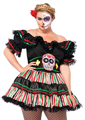 LEG AVENUE 85293X - 'Day Of The Dead Doll' Kostüm-Sete, Größe 1X/2X, schwarz/multifarbig (Plus Size Kostüm Halloween Puppe)