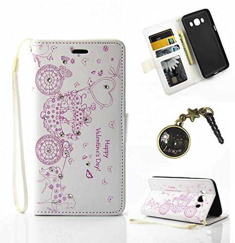Preisvergleich Produktbild PU Silikon Schutzhülle Handyhülle Painted pc case cover hülle Handy-Fall-Haut Shell Abdeckungen für Smartphone Samsung Galaxy J3 (2016) 5,0 Zoll) +Staubstecker(1PP)