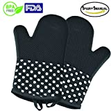 Yumay Silicone Oven Mitts,Extra Long Kitchen Gloves - Heat Resistant Oven Gloves with Cotton Lining - Waterproof and Non Slip Silicone Potholder and Glove for Kitchen, Microwave, Cooking, Wire Mesh, Barbecue. (New style Black silicone oven gloves)